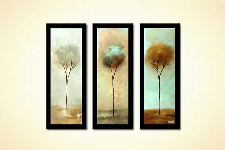 Painting Small Triptych Vertical Trees Border Home Decor