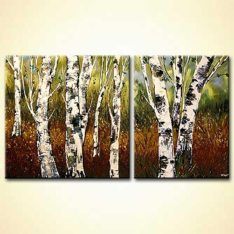 Landscape painting - Birch Trees