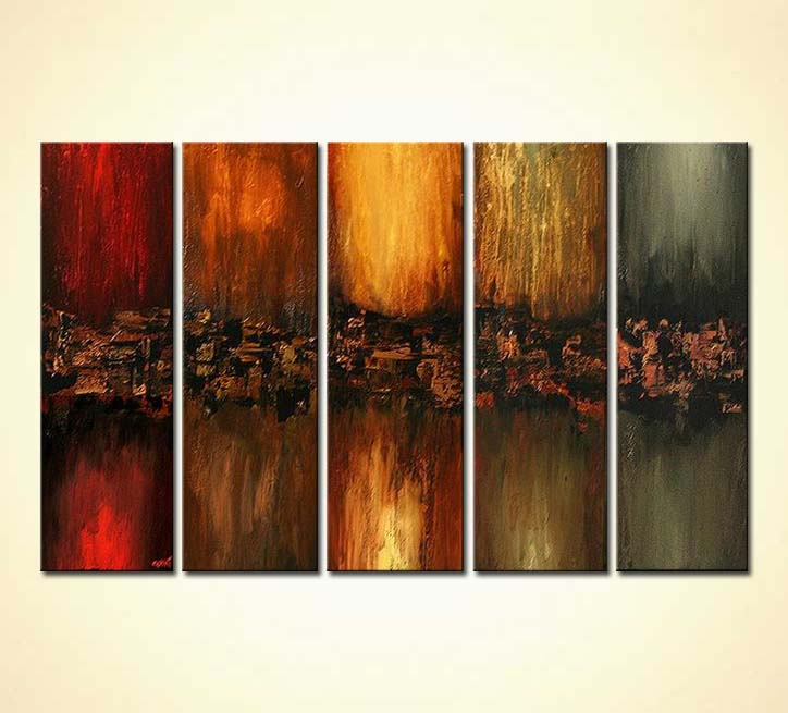 Painting - multi panel modern wall decor vertical colorful ...