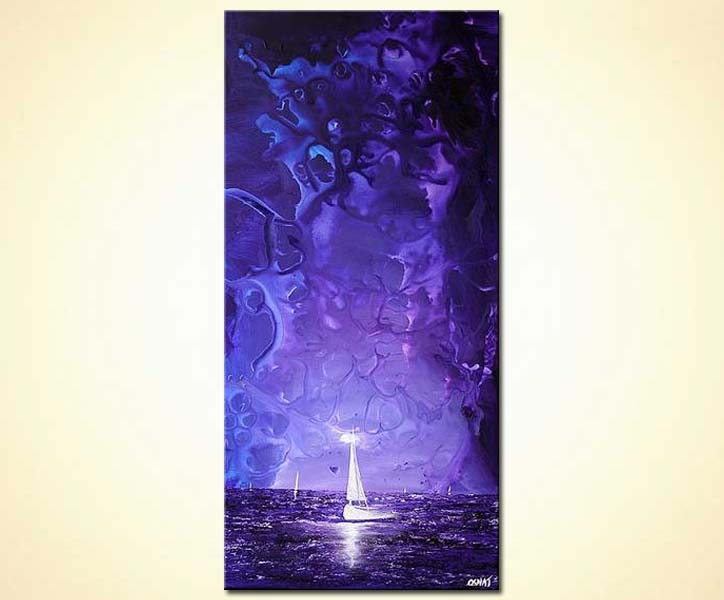 purple seascape with white sail boat vertical