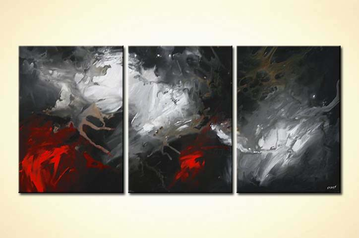 Abstract painting - triptych in black and red dark light home ...