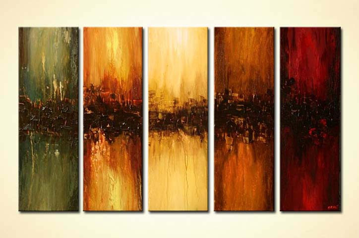 Abstract Painting Multi Panel Large Modern Painting Vertical 5488