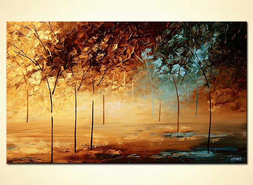 palette knife forest painting lake trees decor