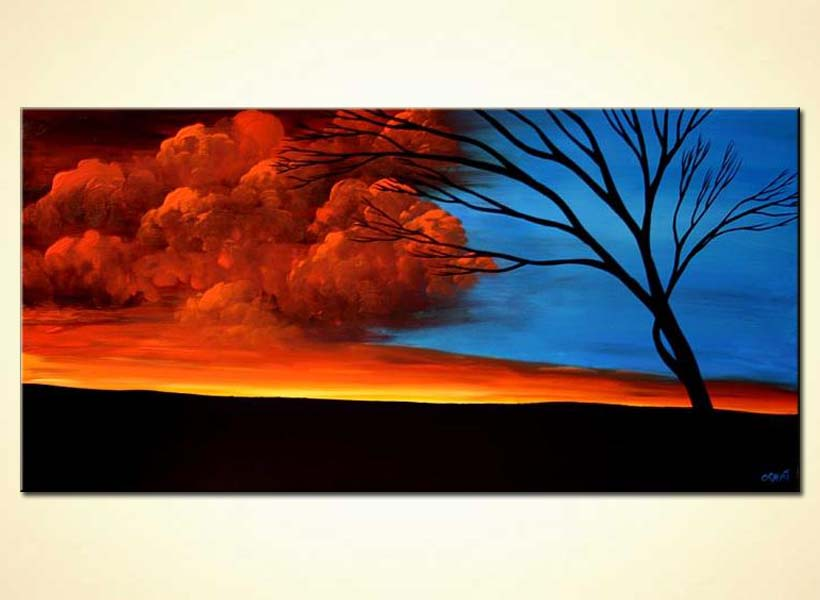 buy red and blue sky landscape at dawn tree 5543
