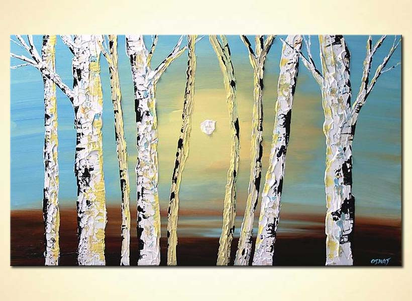 Painting - textured painting birch trees home decor sunshine #5524