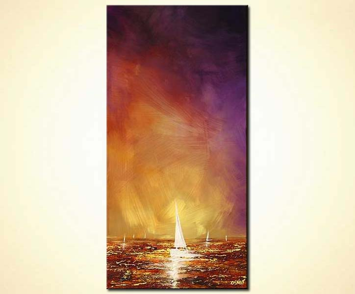 vertical white sailboat at sunset colorful decor
