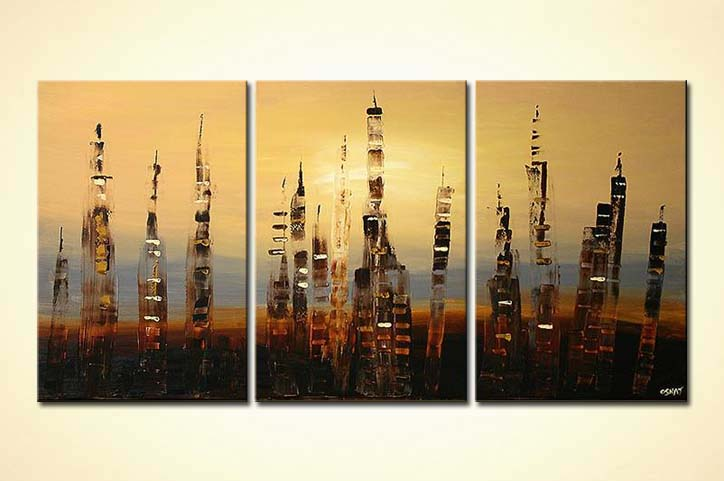 abstract skyscrapers on three canvases