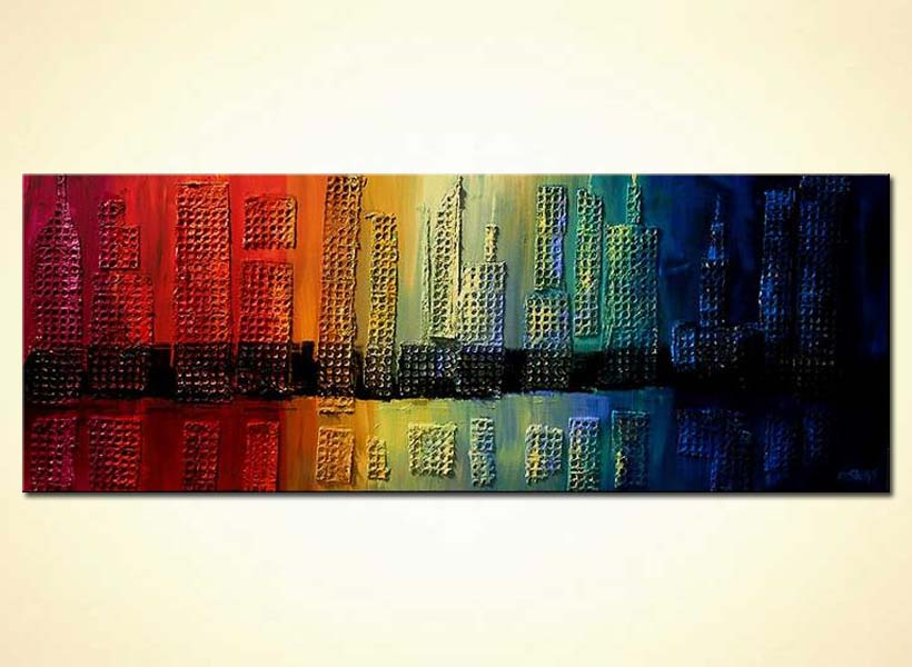 Painting For Sale Mixed Media Skyscrapers Painting