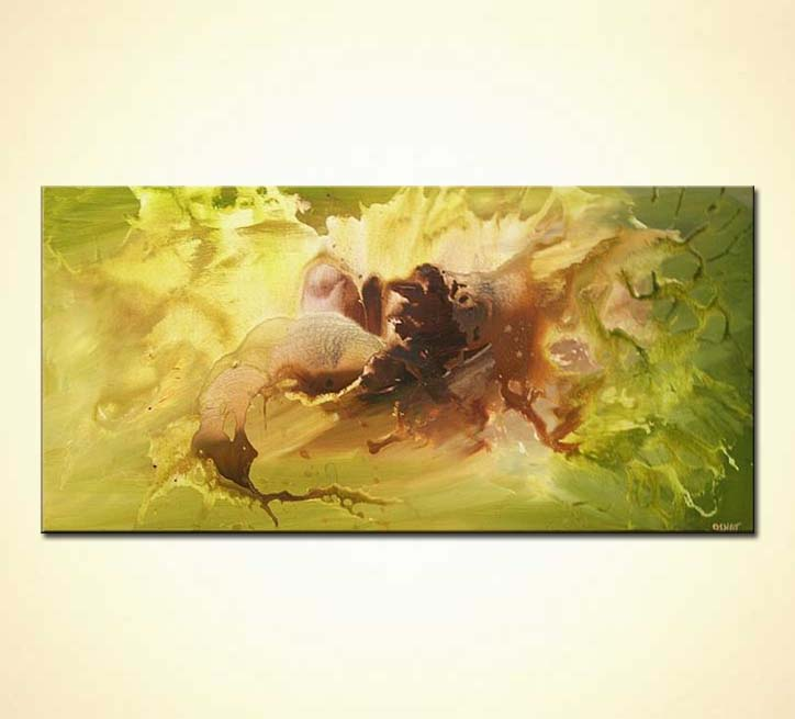 modern green and brown painting abstract art