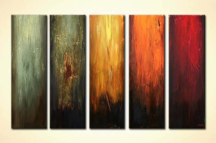 abstract painting multi panel contemporary wall decor vertical 5558