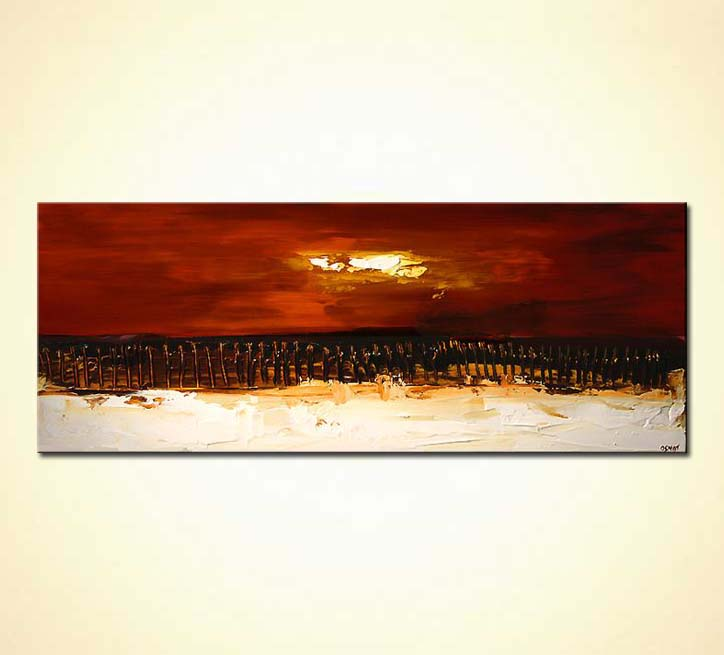 buy horizontal red abstract painting beach shore  5424