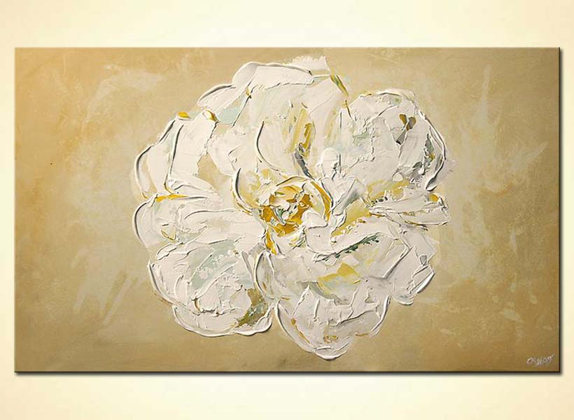 Painting - large white flower minimal floral home decor #5413