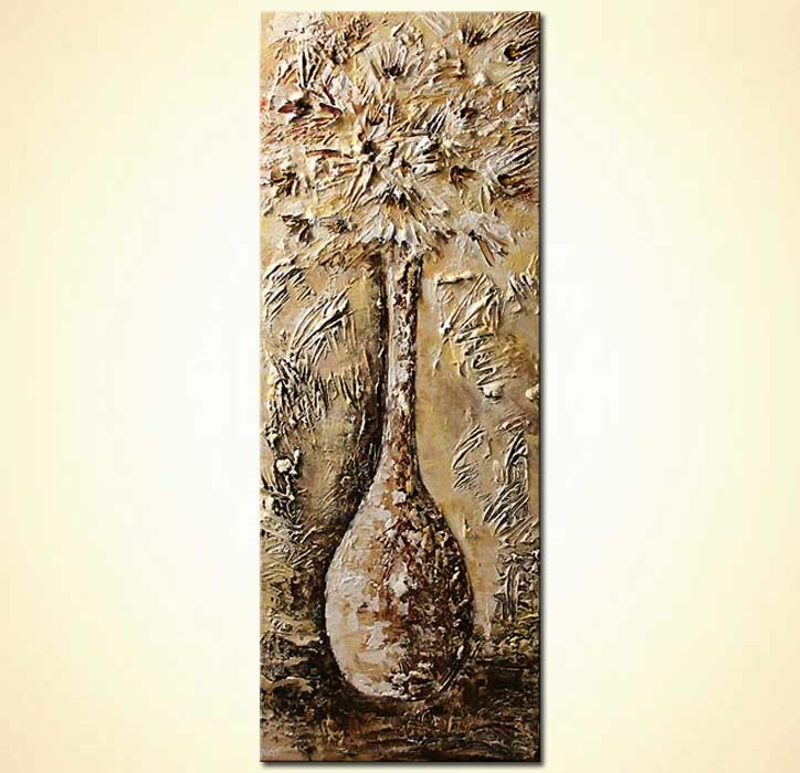 textured painting vase with flowers