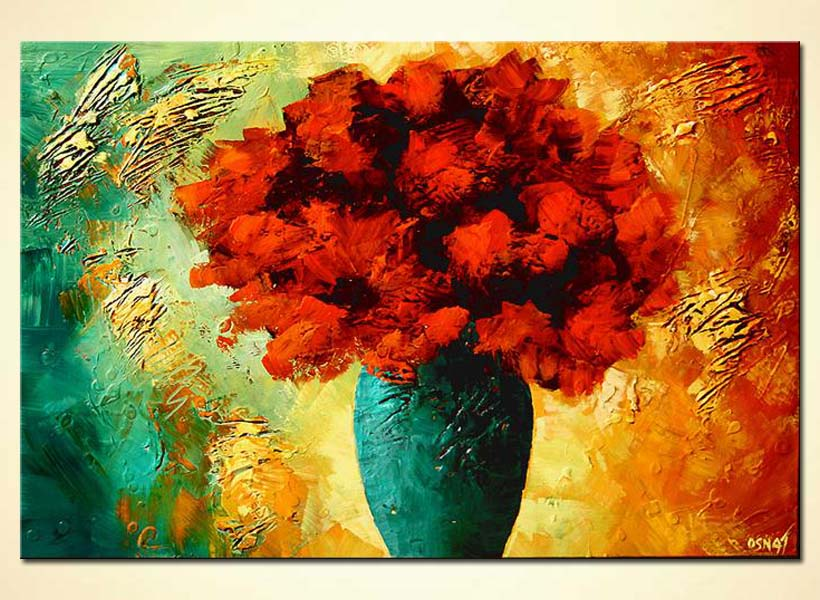 Buy Textured Painting Vase With Red Flowers 5425