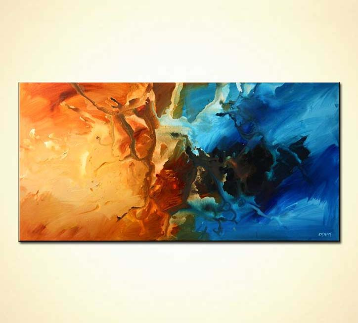Blue Modern Abstract Home Decor Orange