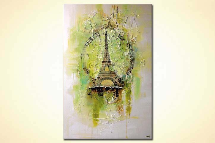 eiffel tower mixed media  minimal white background