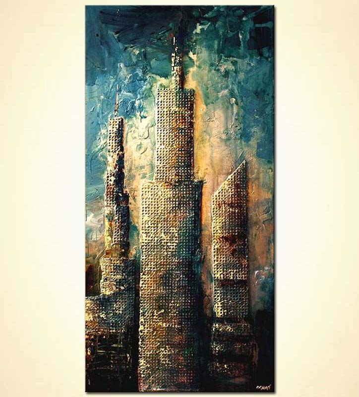 large mixed media skyscrapers vertical towers