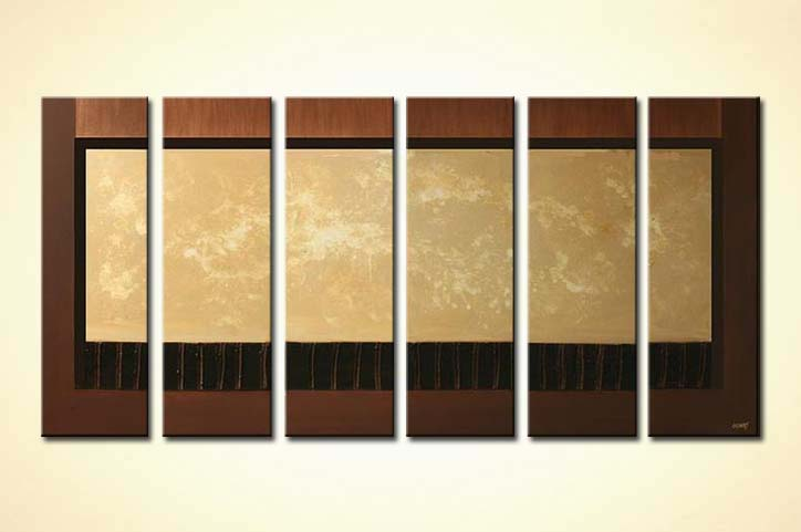 multi panel brown and beige abstract