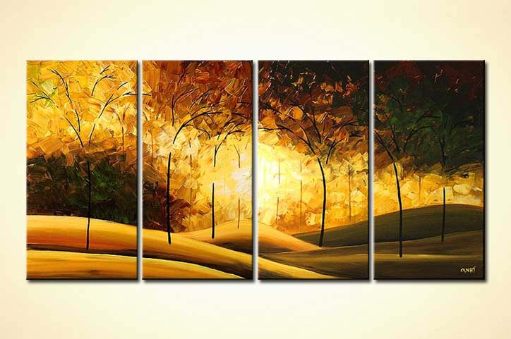 multi panel golden forest textured painting