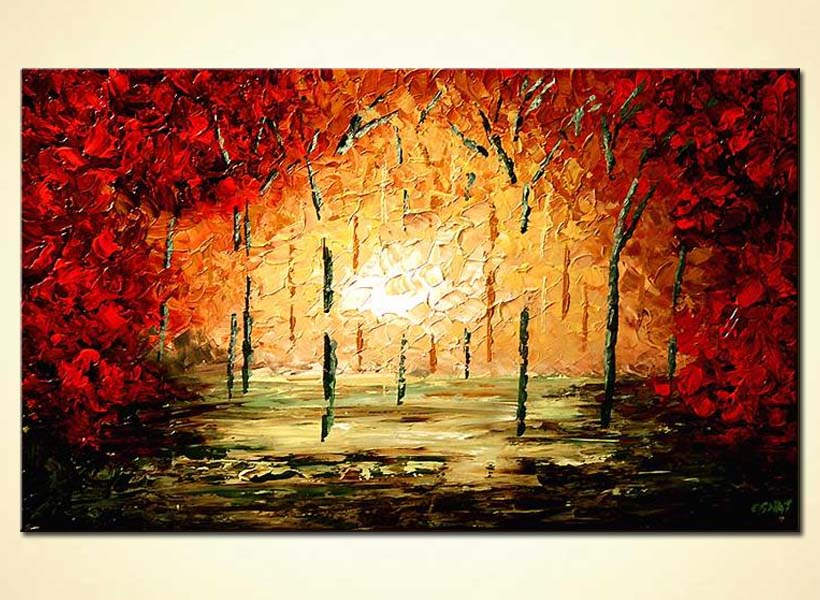 palette knife red forest home decor trees