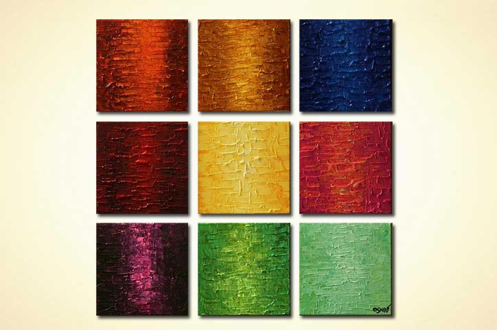 textured abstract squares colorful nine