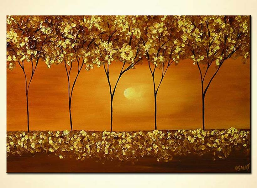 textured painting trees in gold home decor