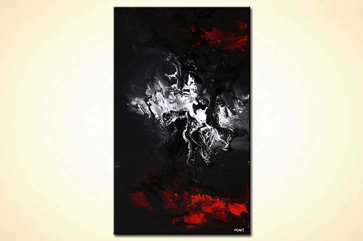 Red black and white abstract paintings for Abstract painting on black canvas