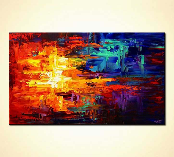 Painting bold colorful red blue and yellow abstract 5647 for Modern abstract paintings for sale