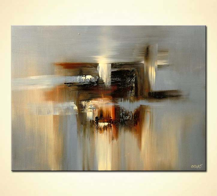 Painting - gray modern abstract painting maze soft art #5642