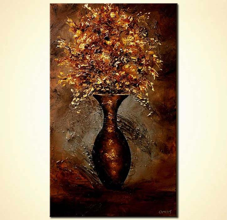 Buy Palette Knife Brown Vase Floral Painting 5643
