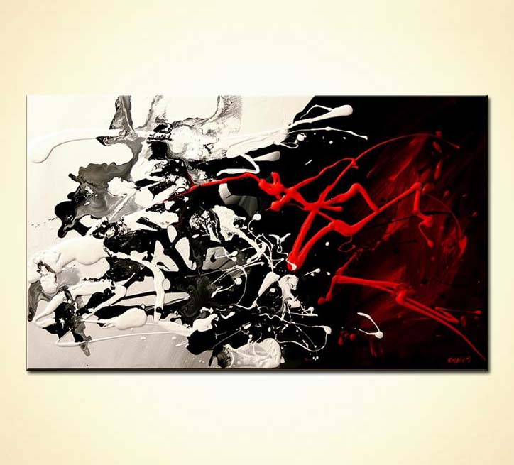 Painting For Sale Splash Abstract In Black White And Red