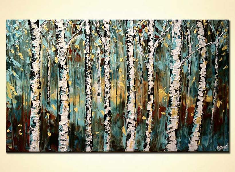 textured birch trees painting close up