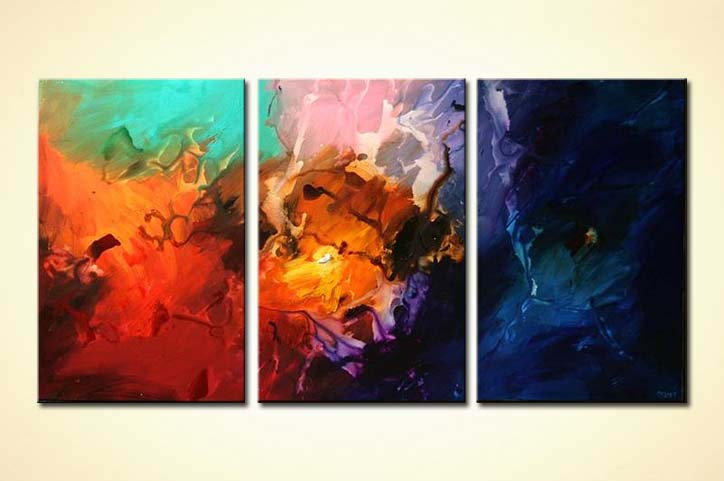 triptych colorful modern painting soft art