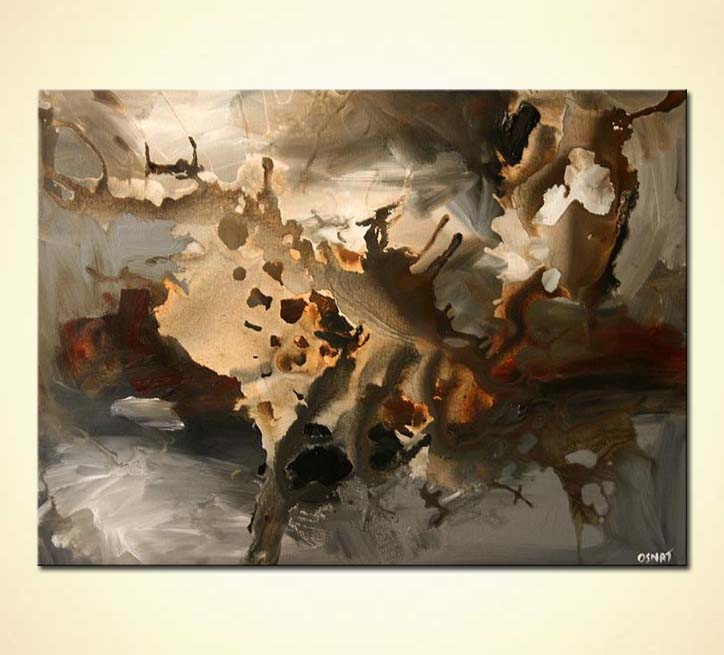 Painting For Sale Brown Gray Abstract Painting Clouds