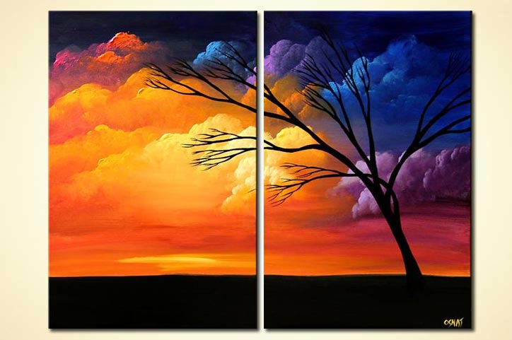 diptych colorful clouds landscape home decor