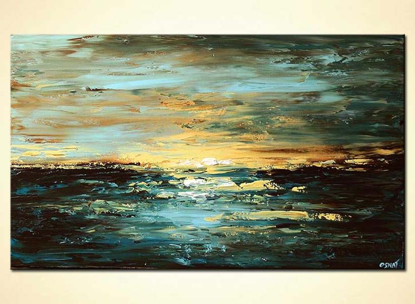 horizontal sunset seascape painting blue
