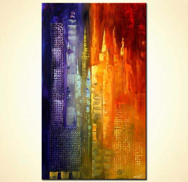 new york skyscrapers abstract painting
