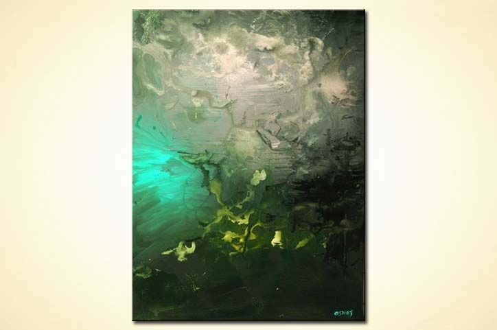 Painting For Sale Vertical Abstract Green Tones Home