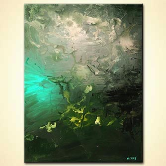 Abstract painting - Green Moon Rising