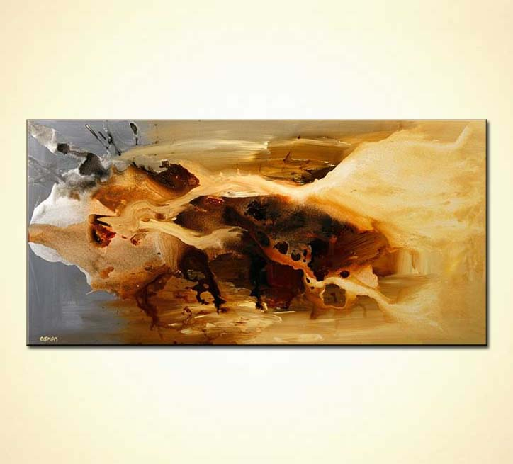brown and sand color abstract painting