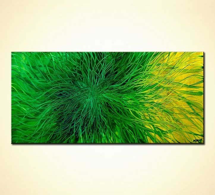 green abstract painting wall decor