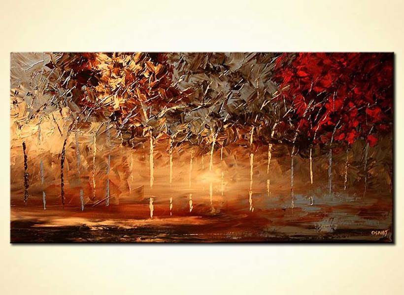 landscape textured painting blooming forest