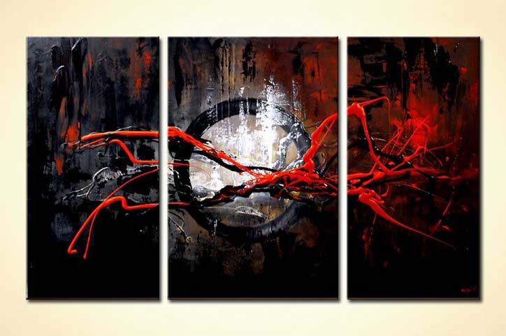 Abstract painting - red and dark color abstract painting #5740