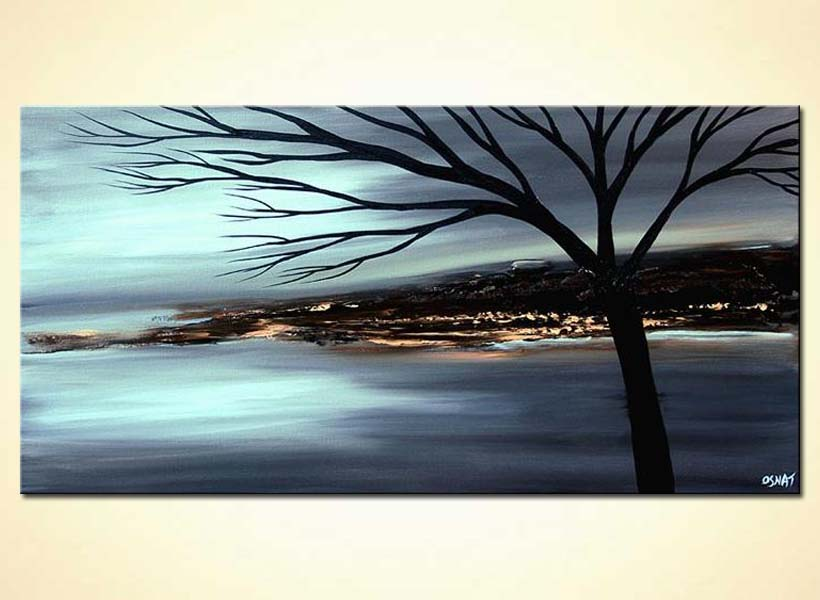 painting for sale landscape painting in soft blue gray 5756