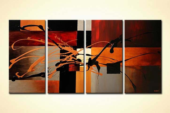 Painting For Sale Red Black And Orage Squares Painting