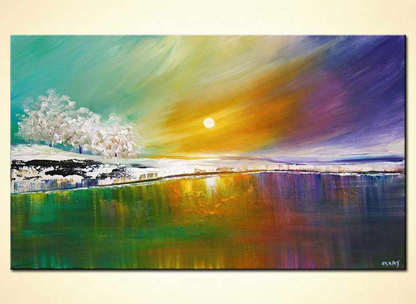 painting modern landscape art lake trees and colorful
