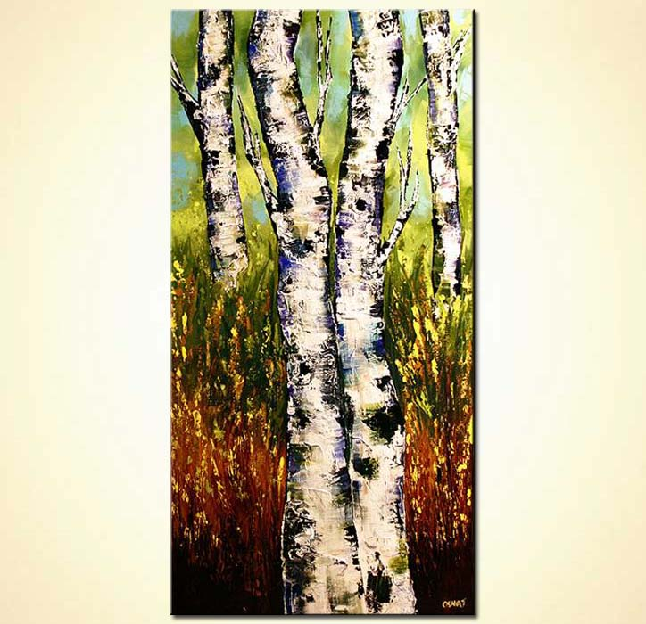 Oil Painting Abstract Birch