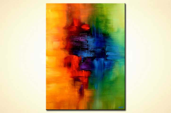 Yellow Red Blue And Green Abstract Art