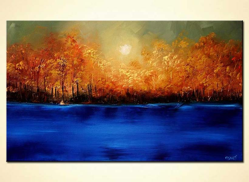 Painting Bright Shiney Forest On River Bank Summer 5827