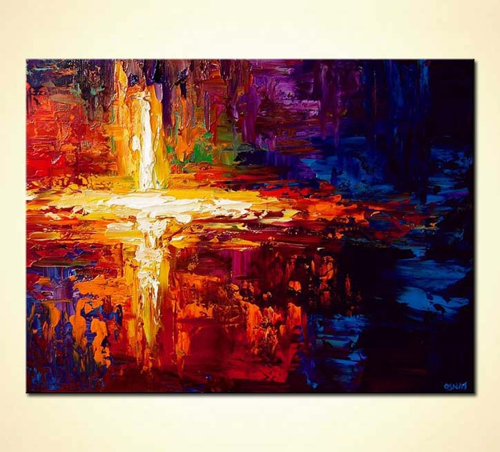 Painting colorful cross painting light large abstract for Cross paintings on canvas